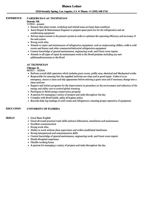 resume format for ac mechanic ac technician resume sles velvet