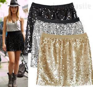 new womens sequin mini skirt black gold silver size s ebay