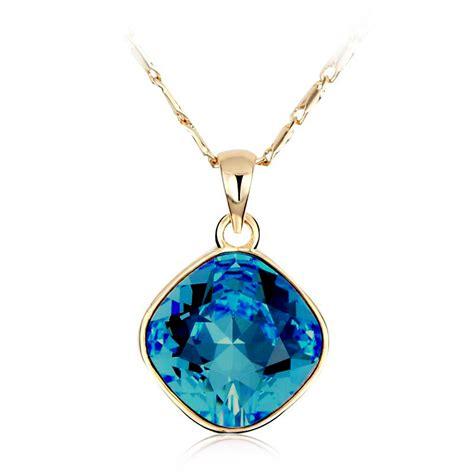 swarovski crystals for jewelry 18k yellow gold plated blue swarovski necklace