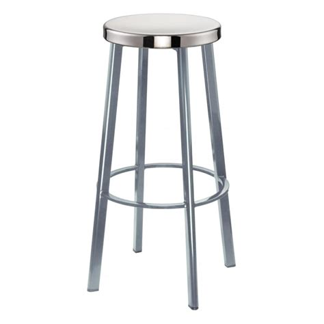 bar stool aluminum buy light grey contemporary metal bar stool with circular
