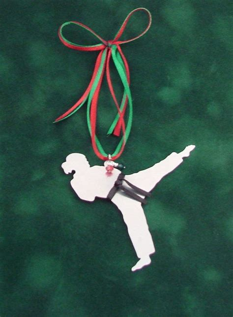 karate tae kwon do metal christmas tree ornament female