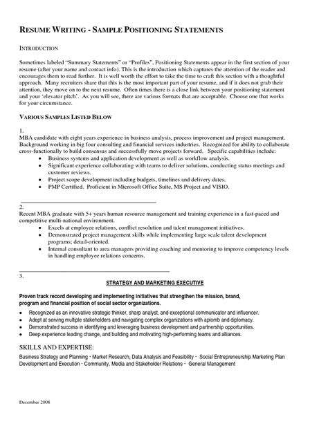 Resume Personal Statement Exles Exles Of Resumes Resume Social Work