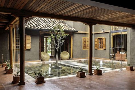 Style House Plans With Central Courtyard by Central Courtyard Of The Home With A Reflective Pond And