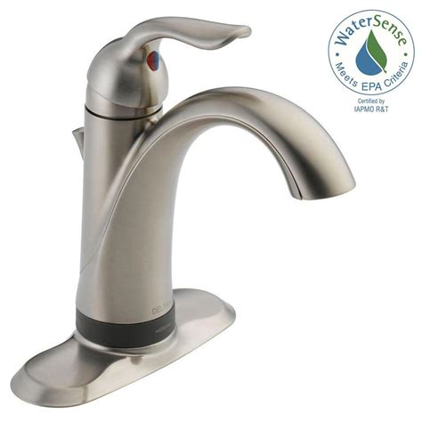 shop delta lahara stainless 1 handle single hole 4 in delta lahara single hole single handle bathroom faucet