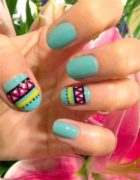 aztec pattern nail art simple spring nail art designs ideas trends 2014 for