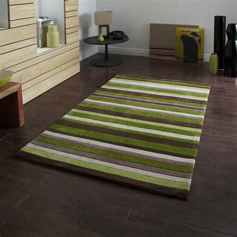hong kong rugs  green brown stripes  uk delivery