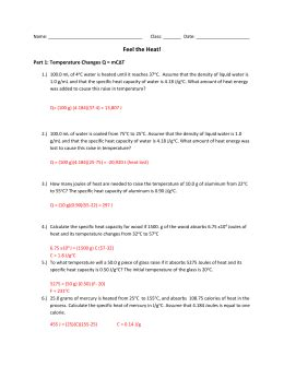 specific heat  heat capacity worksheet