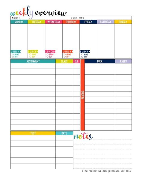 printable organizer best 25 homework planner printable ideas on pinterest