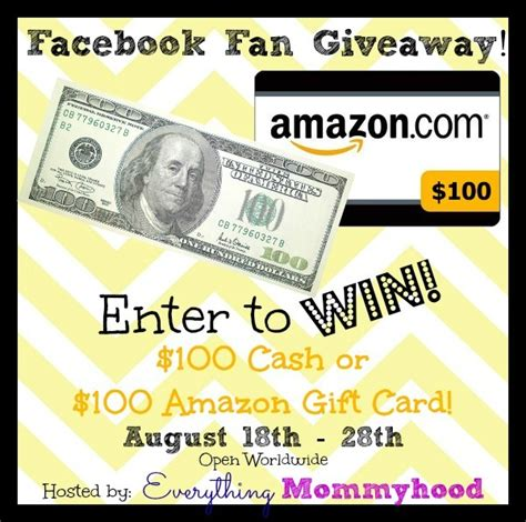 Cash Out Amazon Gift Card - facebook fan giveaway enter to win 100 cash or 100 amazon gift card ends 8 28 14