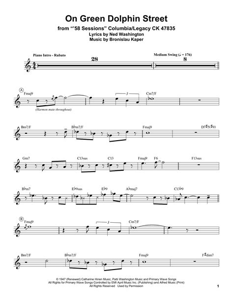 on green dolphin street b0031rs3ps on green dolphin street sheet music by miles davis trumpet transcription 199076