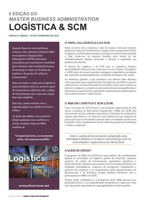 Mba Scm by Mba Logistica E Scm 2015