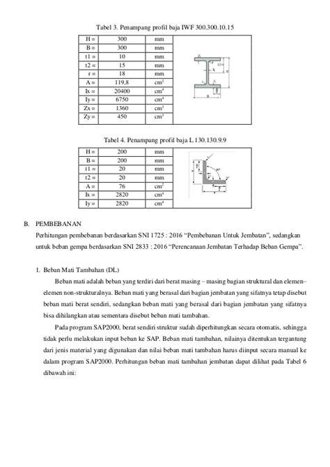 pembebanan jembatan rangka revisi profil baja