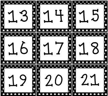 printable numbers for 100 pocket chart black white polka dot pocket chart or wall calendar set