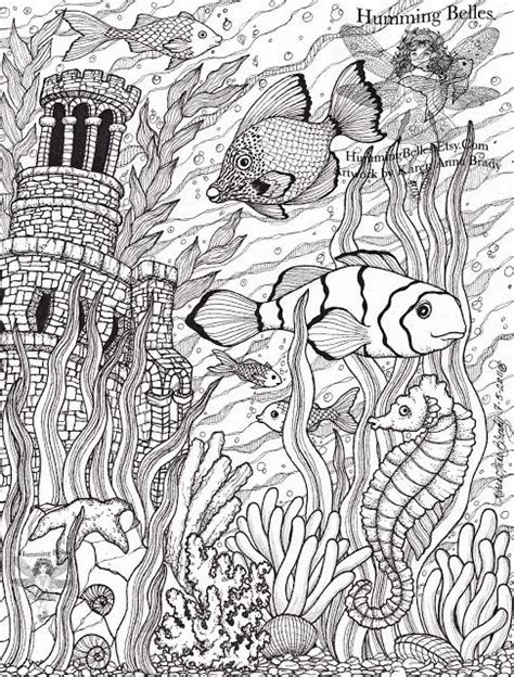 advanced ocean coloring pages fish ocean castle seahorse starfish water coloring pages