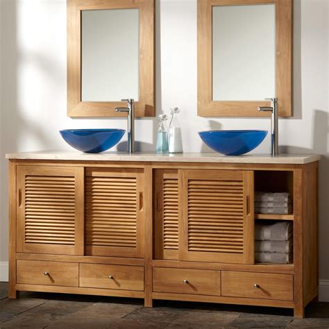 teak bathroom vanities 72 quot arrey teak double vessel sink vanity natural teak