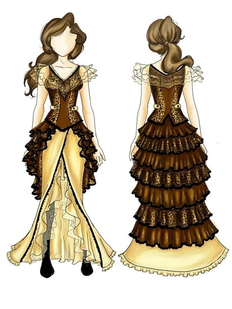 design a victorian dress game design steunk leopard costume by bluemarinesfactory on