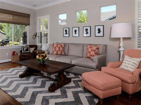 chevron rug living room living room with chevron rug and coral accents hgtv