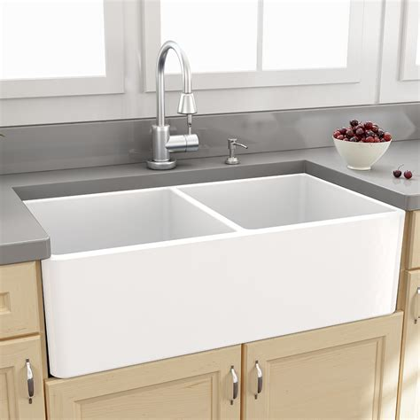 Kitchen With Two Sinks Nantucket Sinks Farmhouse 33 Quot X 18 Quot Bowl Kitchen Sink With Grids Reviews Wayfair
