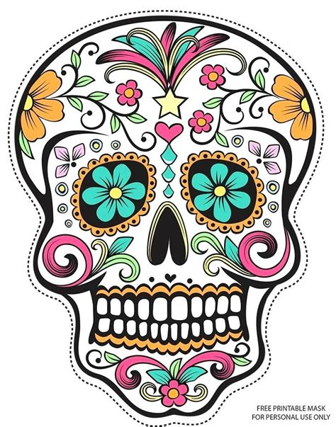 day of the dead skull mask template sugar skull drawing at free for personal use template day
