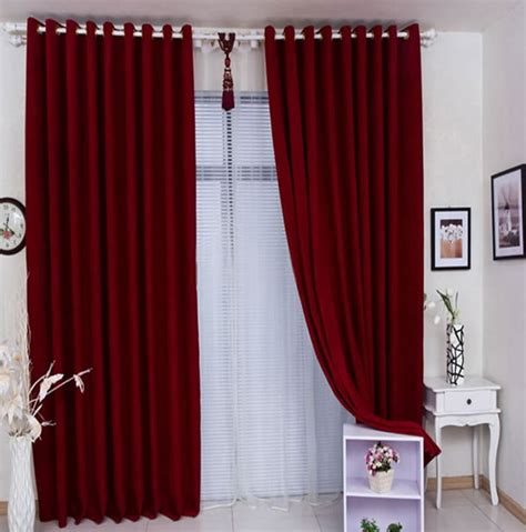 red living room curtains elegant smooth red curtain over sheer lace for living room