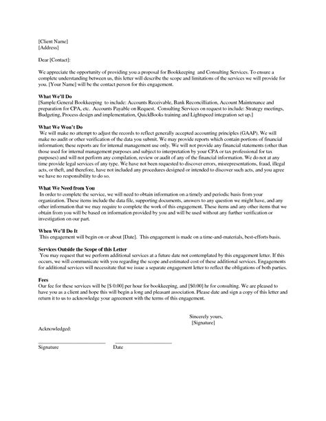 sle bookkeeping engagement letter the letter sle