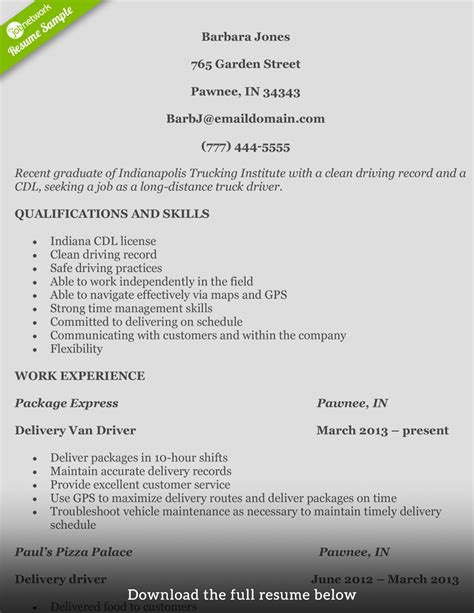 Truck Driving Resume by How To Write A Truck Driver Resume With Exles