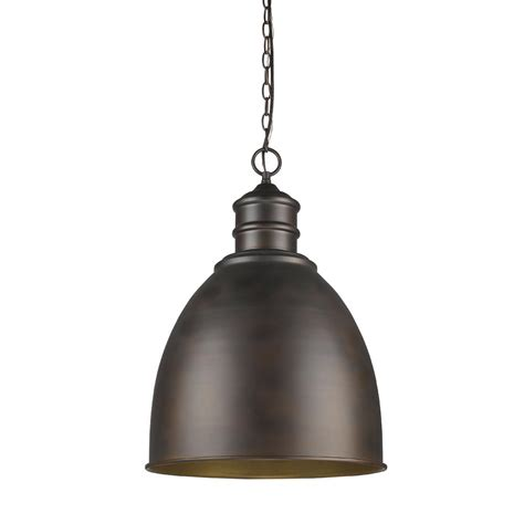 Indoor Pendant Lighting Acclaim Lighting Colby 1 Light Indoor Rubbed Bronze Pendant With Metal Shade In11170orb