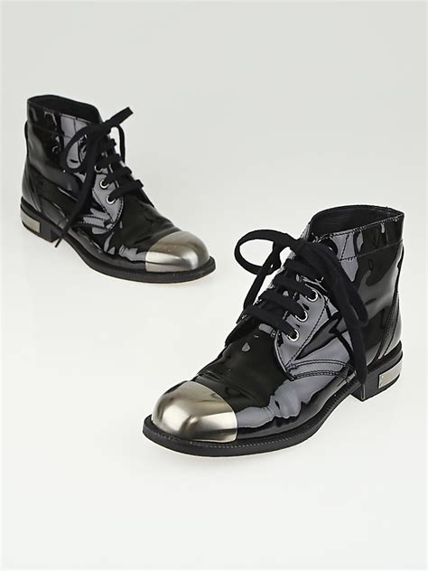 Sale Alert Up To 30 Boots At Nine West by Chanel Black Patent Leather Steel Toe Lace Up Ankle Boots
