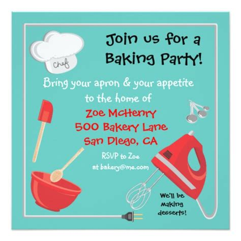 baking cards templates baking or cooking invitation card zazzle