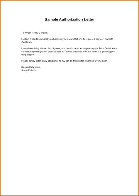 authorization letter template microsoft 9 authorization letters authorizationletters org