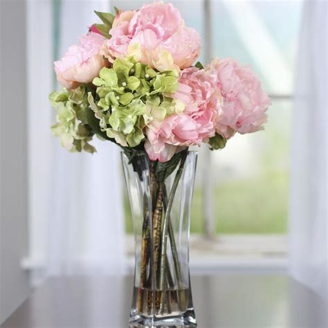 Artificial Peonies In Vase by Artificial Hydrangea And Peony Vase Table And