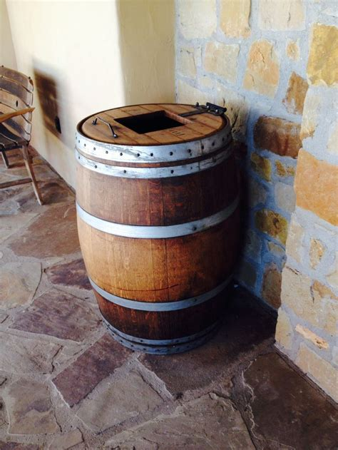 wine barrel trash  hinged top whiskey barrel table