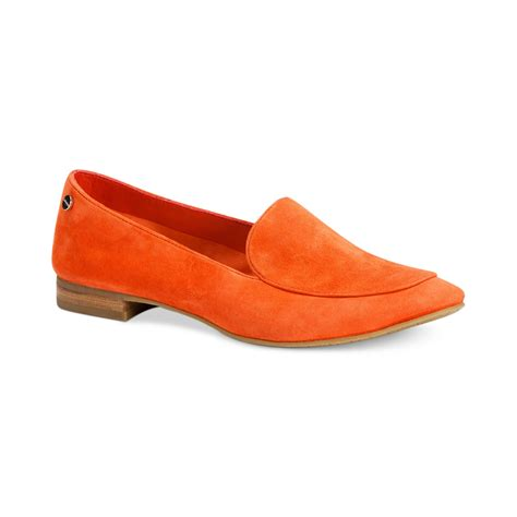 orange loafers calvin klein tacoma loafers in orange orange suede lyst