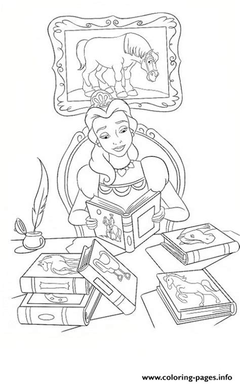 belle reading coloring pages belle reading books disney princess 4286 coloring pages