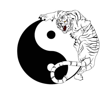 yin yang symbol and tiger