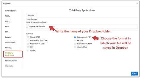 dropbox turn on document in setting store your forms in your dropbox account kizeo forms