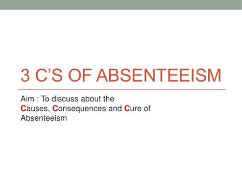 Definition Pattern Absenteeism | absenteeism by thierry mbenoun