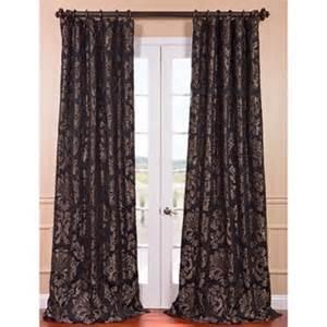 Fabrics astoria black pewter faux silk jacquard curtain panel