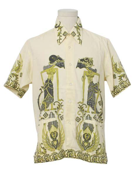 Blouse Batik Cantika Green White Yo vintage 1970 s hippie shirt 70s batik keris mens
