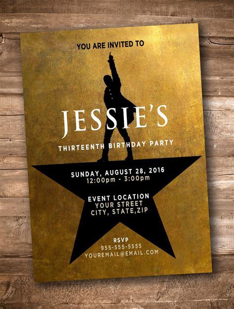 hamilton  musical personalized invitation