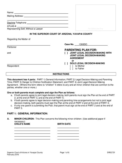 parenting plan template parenting plan form 57 free templates in pdf word