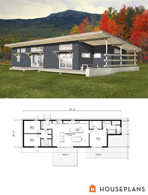 Modern Style House Plan   3 Beds 2.00 Baths 1356 Sq/Ft