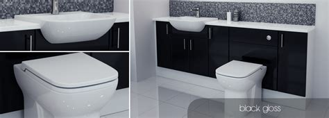 Bathcabz Bathroom Fitted Furniture Black Gloss Furniture Gloss Black Bathroom Furniture