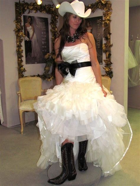 belle bridal wedding dress laurel cowgirl boots  hat