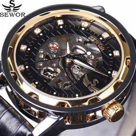 Luxury Mens Fashion Steunk Skeleton Mechanical Wind sewor royal design black gold mens watches top brand luxury skeleton mechanical
