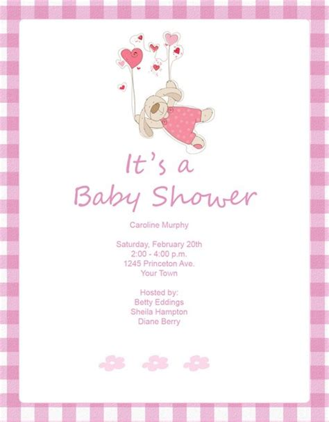free templates for baby shower invitations girl baby shower invites for girls template best template