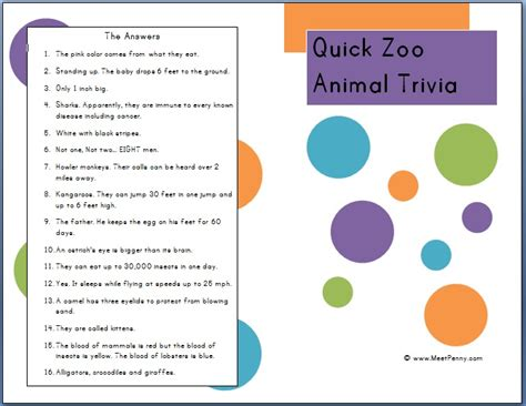 printable animal trivia where do animals go in winter apologia land annimals