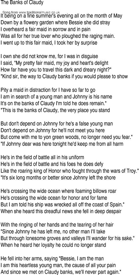 Irish Music, Song and Ballad Lyrics for: Banks Of Claudy