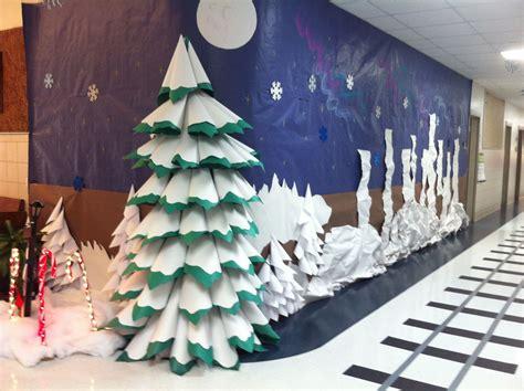 how to make a polar express paper christmas tree paper 3d tree polar express hallway decorations classroom