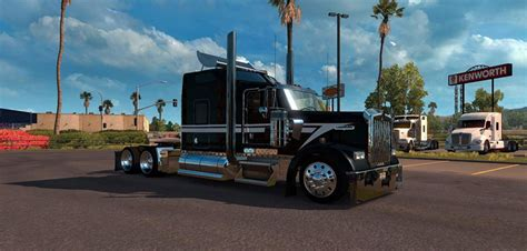 kenworth w900 custom black and white skin american truck